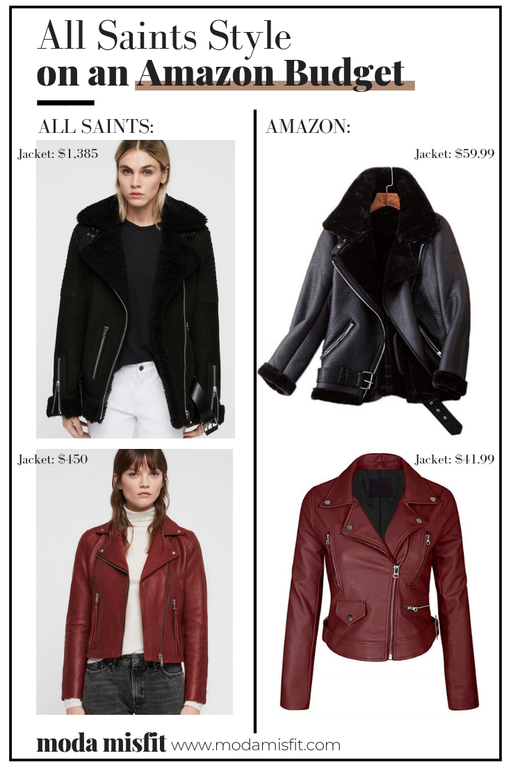 All Saints shearling jacket  //  All Saints red leather jacket    Amazon shearling jacket  //  Amazon red leather jacket