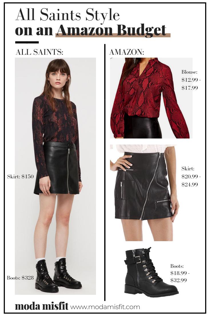 All Saints blouse (now sold out) //  All Saints skirt  //  All Saints boots    Amazon blouse  //  Amazon skirt  //  Amazon boots
