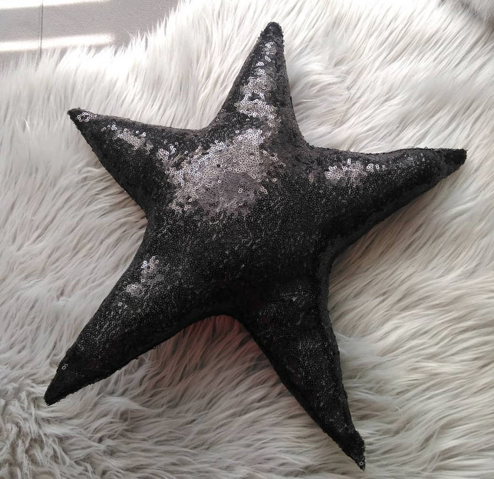Etsy - Black Sequin Star Throw Pillow