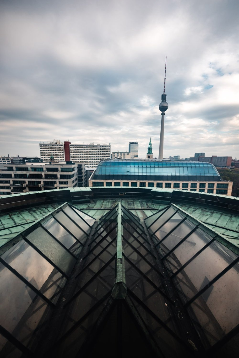 View of TV Tower and Radisson Blu from the Top of Berlin Dom