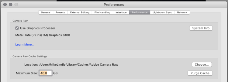 lightroom Camera RAW Cache Settings