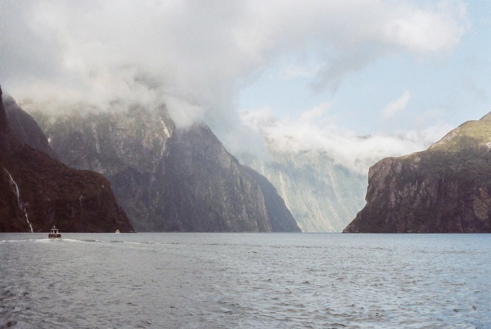 Enjoying a Cruise through Fiordland National Park, New Zealand South Island