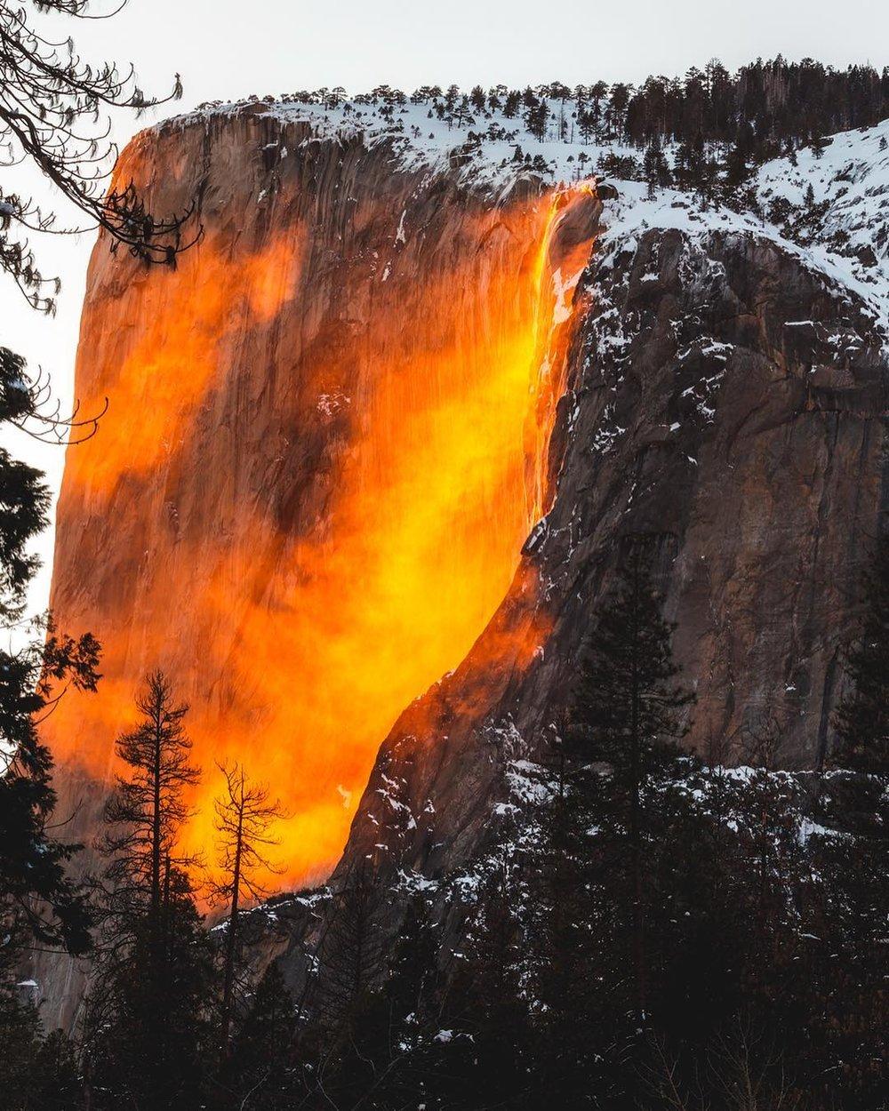 Yosemite Firefall National Park Horsetail Fall Winter February