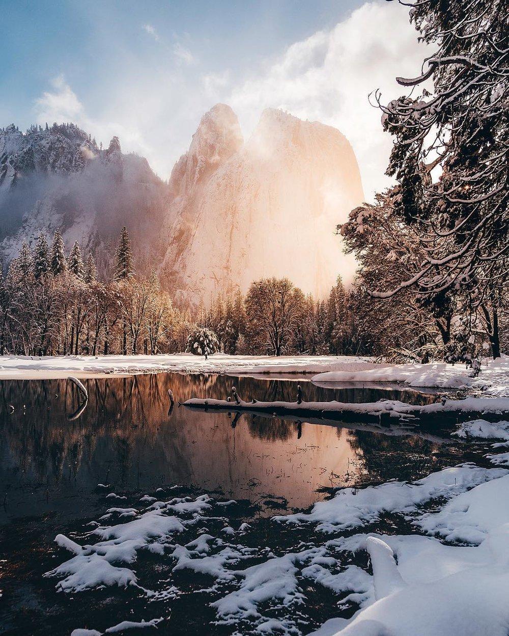 Yosemite El Capitan National Park Winter February Sunset