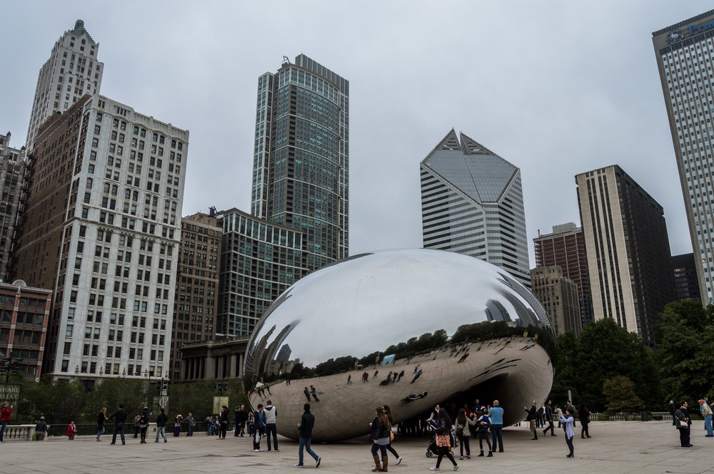 Chicago The Bean Cloud Gate Cloudy Reflection City Illinois