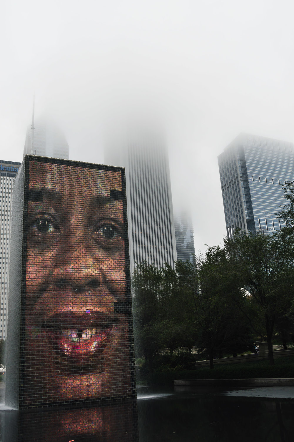 Chicago Crown Fountain Cloudy Reflection City Illinois