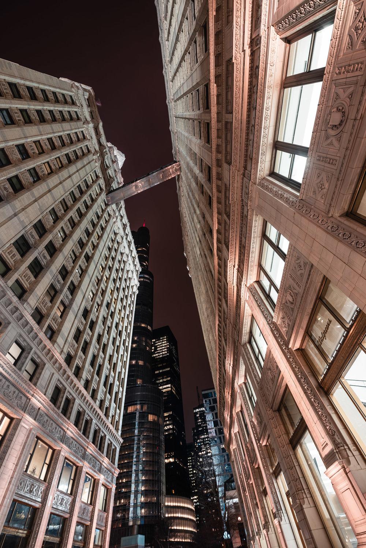 Chicago Cloudy Reflection City Illinois Wrigley Building Sky Walk Sky Bridge Trump Tower Night