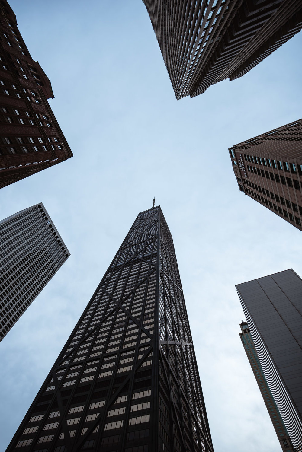 Chicago John Hancock Center Cloudy City Illinois Magnificent Mile Lookup Wide