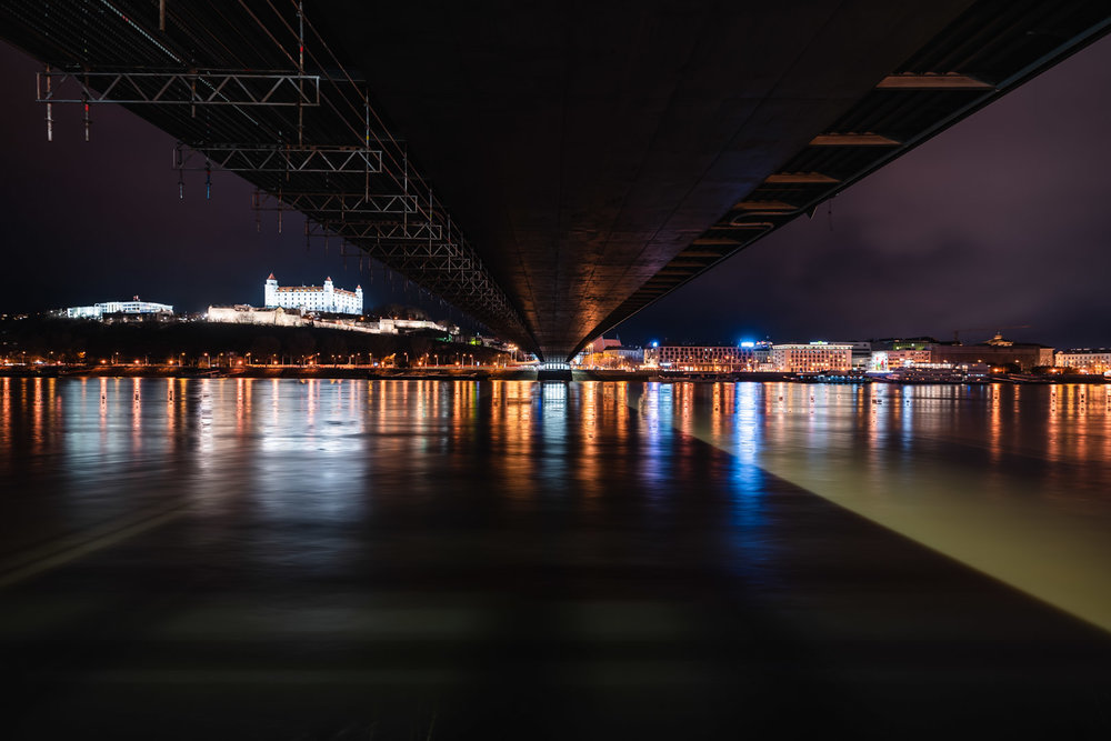 Bratislava Castle UFO Bridge Long Exposure Most SNP Bratislava Slovakia Urban City Eastern Europe