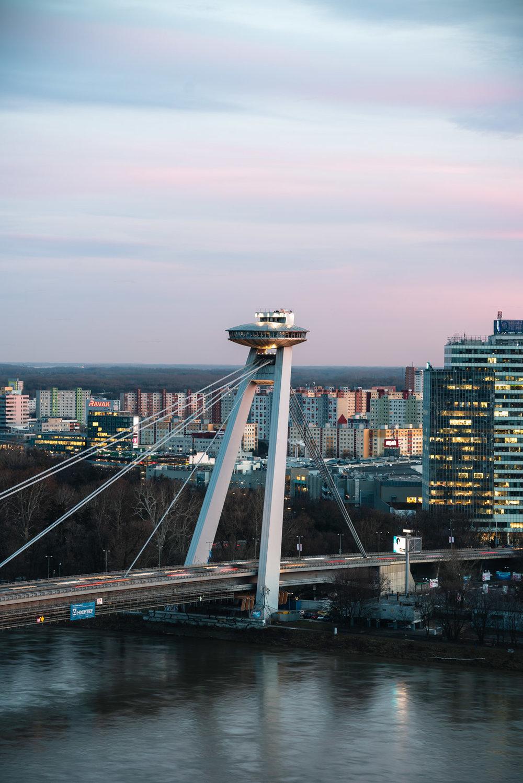 Bridge Sunset UFO Bridge Most SNP Bratislava Slovakia Urban City Slovakia Urban City Eastern Europe