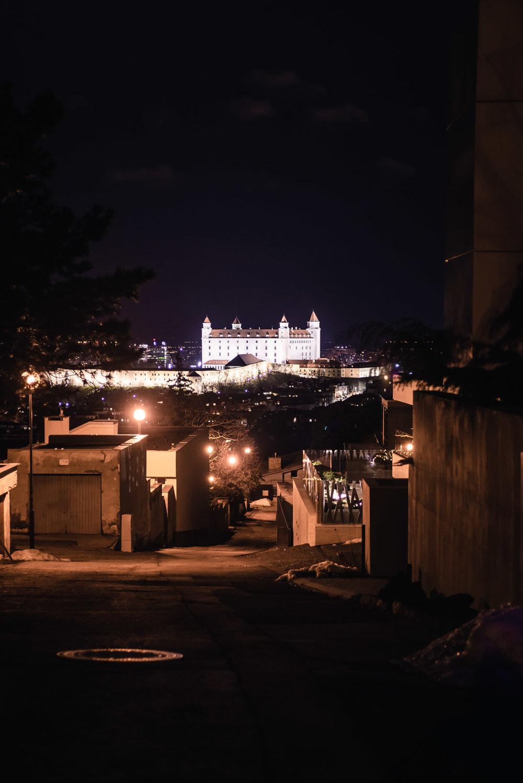Night Long Exposure Gothic Bratislava Castle Slovakia Urban City Eastern Europe