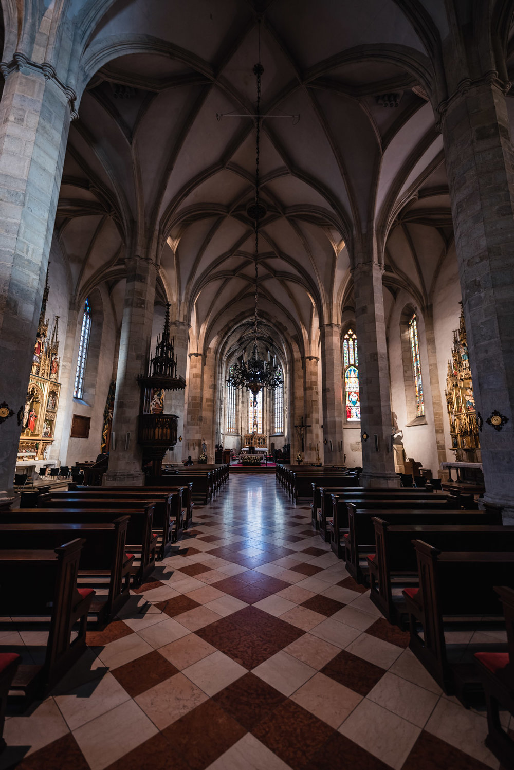 Interior Inside Saint Martin's Cathedral Gothic Stained Glass Windows Reflection Bratislava Slovakia Urban City Eastern Europe