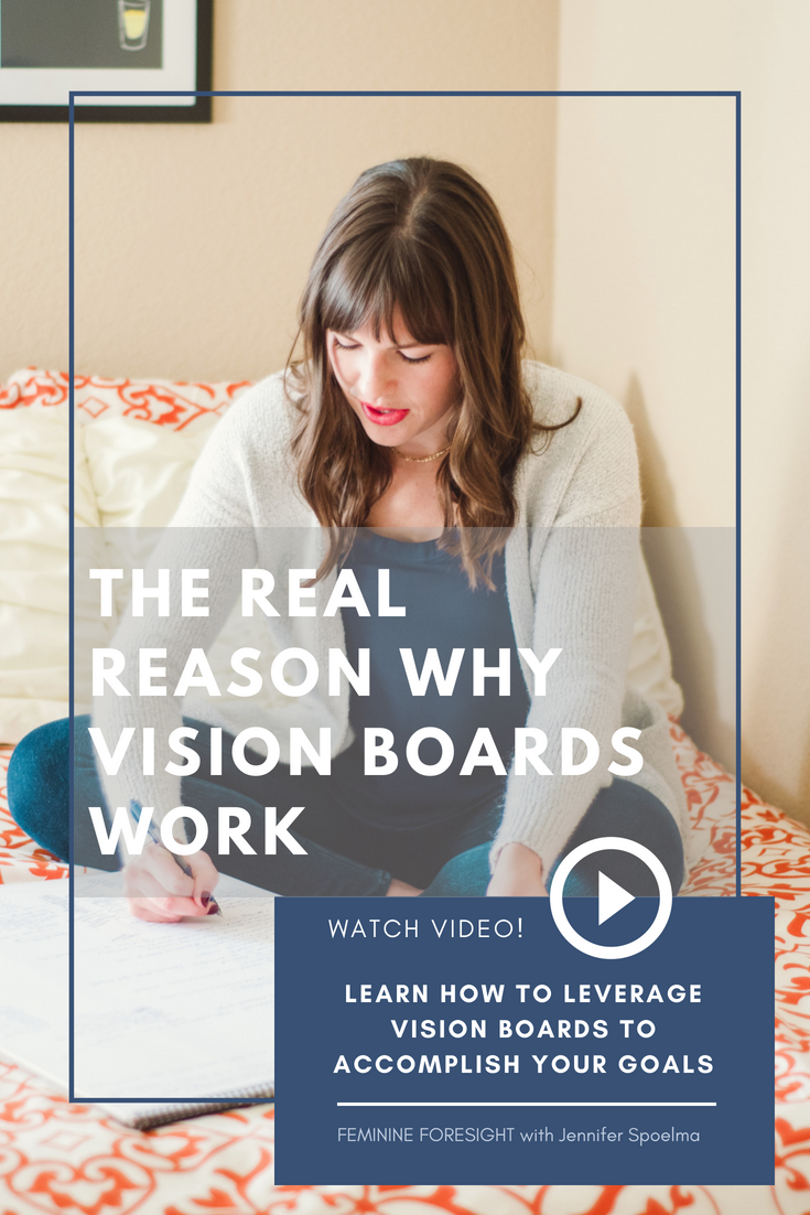 << Pin it! - Vision boards have been the topic of a few conversations I've had recently.I always thought of vision boards as a fun, inspirational craft. Mod Podge and magazine scraps came to mind quickly.But I didn't see vision boards as the intentional mindset tool they can be.In this episode of Feminine Foresight,I'm diving into the psychology at play and why vision boards actually work!