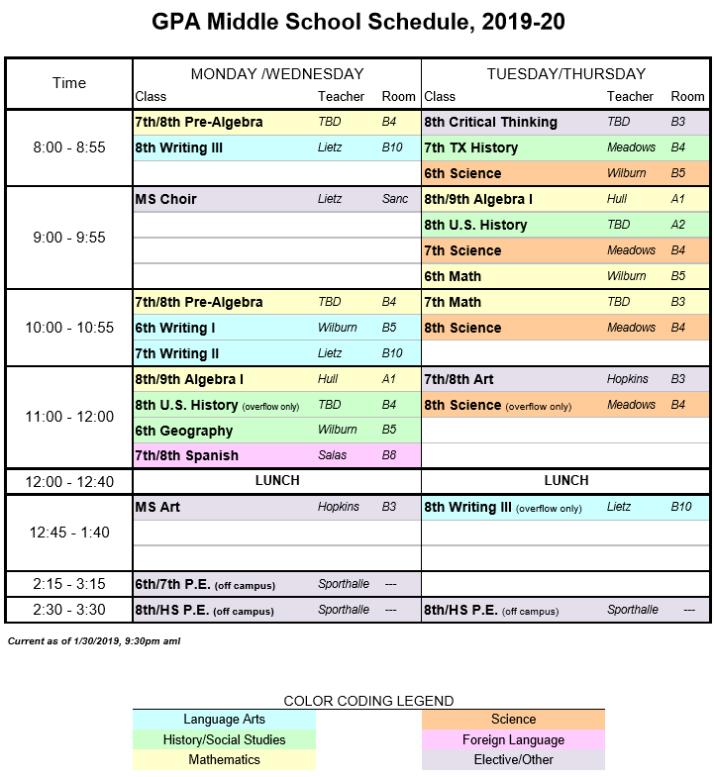 School Schedule 2019-2020 -