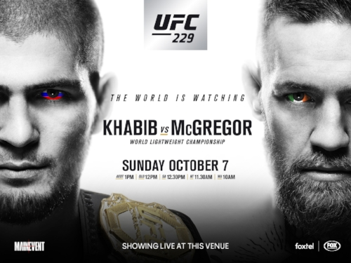 UFC 229 - The world will be watching…will you? Join us on Sunday 7th October as we watch and see history being made!Khabib v McGregor!And to make your day extra great we have;During the fight we have;$20.00 Kilo of                 Buffalo Wings $12.00 Jug of Budweiser $30.00 Combo: Kilo of Wing & jug of Bud$5.00 schooners of Budweiser