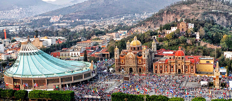 Aerial view of the Basilica of Guadalupe in Mexico City and 7.5 million Pilgrims (Photo: labombilla.com.mx) featured in  The Yucatan Times
