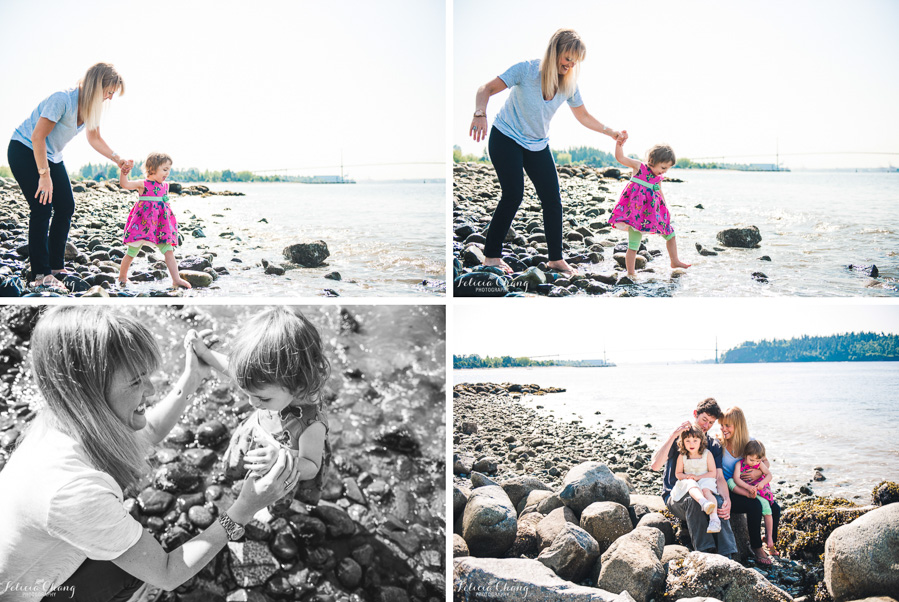 exploring the beach, walking in cold ocean water, mommy and little girl, family cuddle at the rocks by the beach
