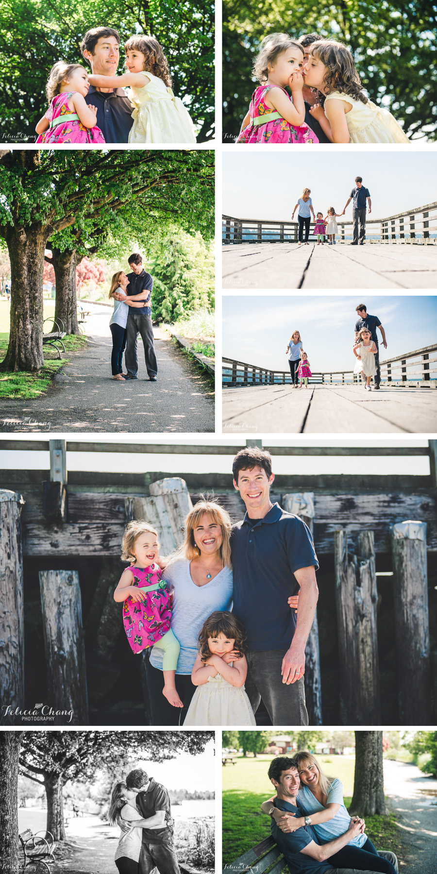 girls and their daddy, family running along the pier, family picture at the pier, couple in love at the beach