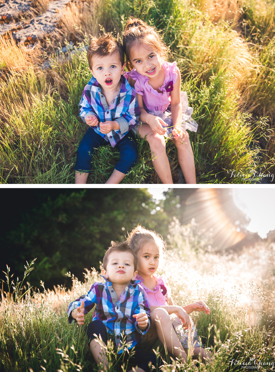 big sister and little brother portrait, golden backlight in the grass caulfield park