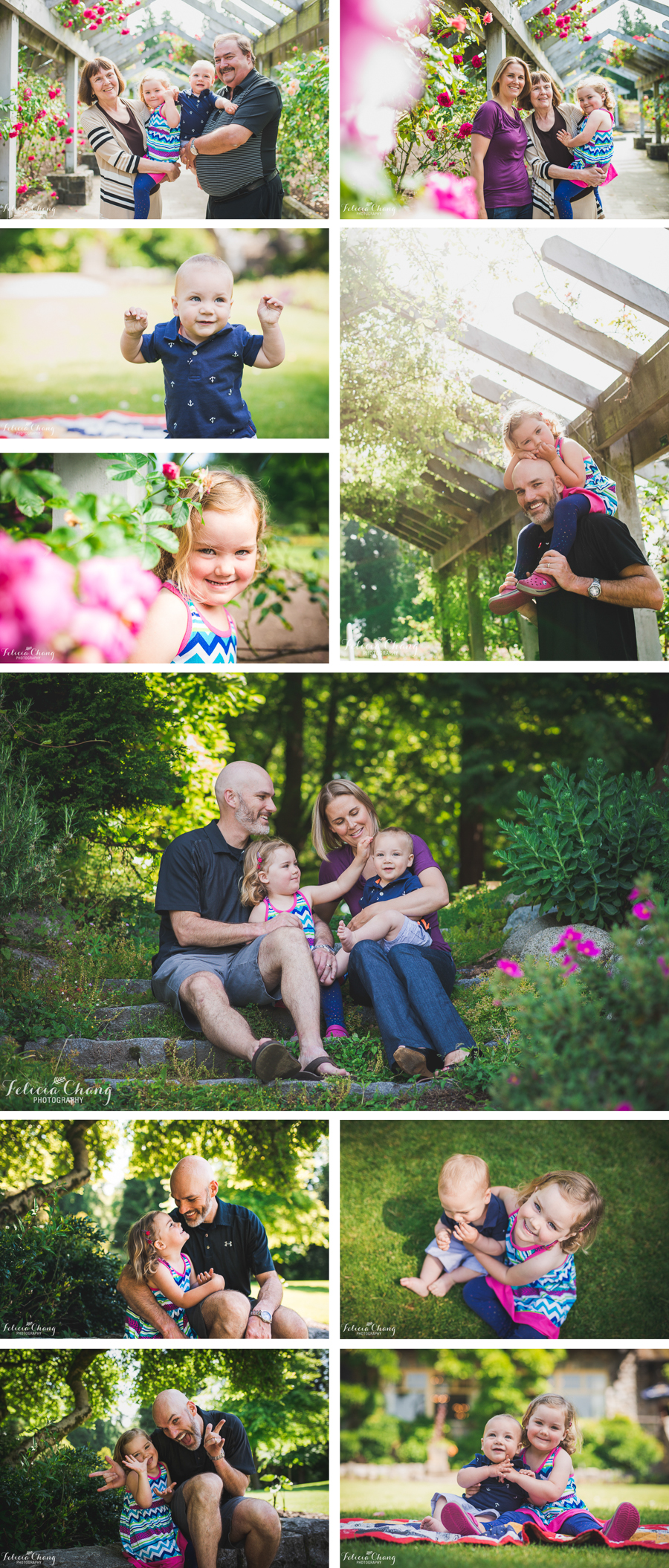 family session spring time rose garden, baby boy turns one, big sister with sweet smile, grandparents with grandchildren, daddy-daughter love