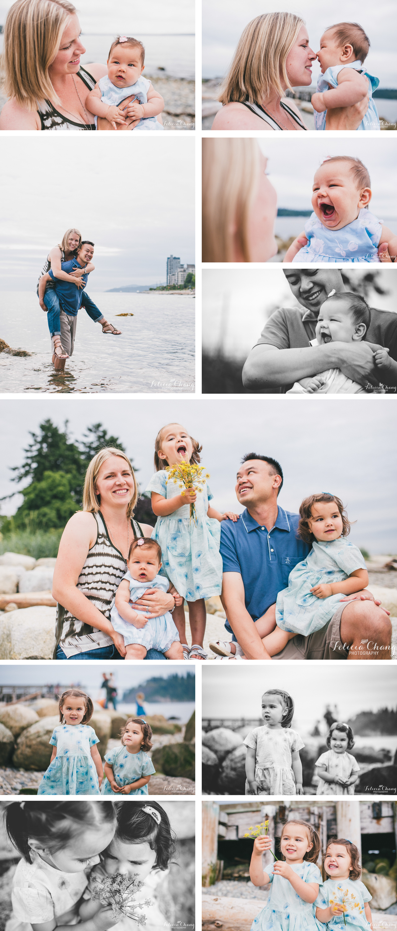 three girls, family of five, family session at the beach, summer evening light, sisterhood, west vancouver family photographer
