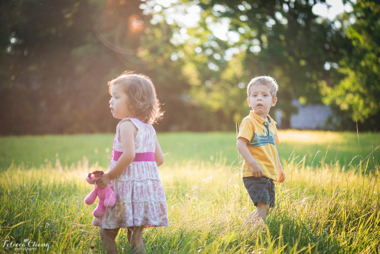 Twin siblings in golden light in the field, North Vancouver family photographer, Felicia Chang Photography
