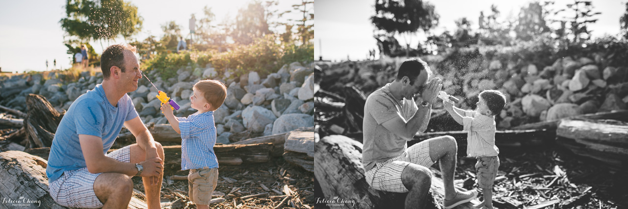 boy squirting daddy with water gun, vancouver family photographer, Felicia Chang Photography