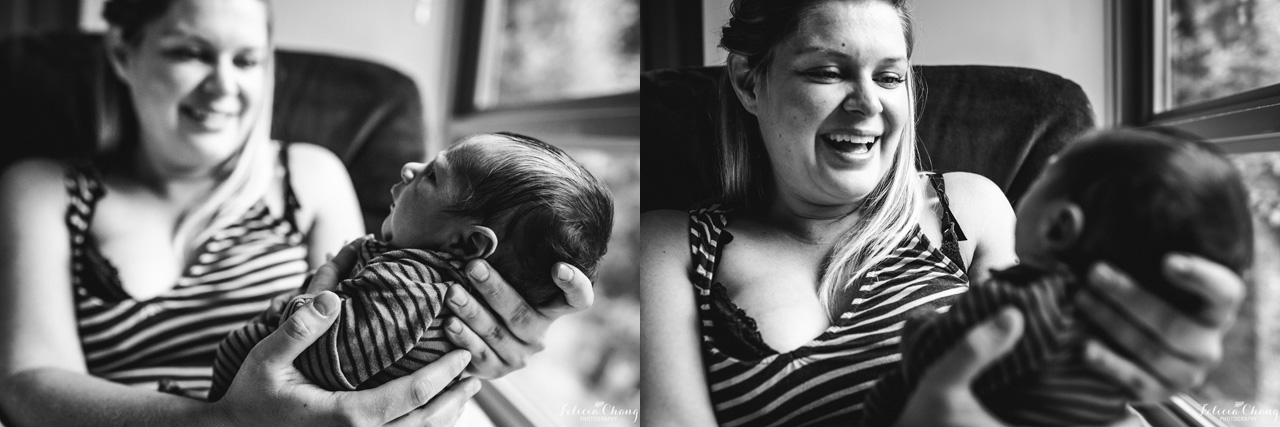 mom looking at newborn baby boy, North Vancouver newborn photographer, Felicia Chang Photography