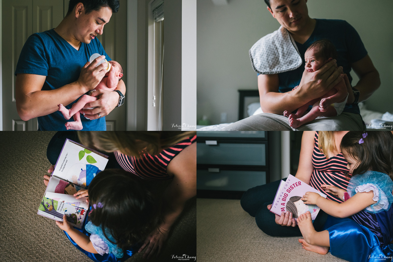 dad bottle feeding baby boy, burping, reading to daughter, North Vancouver newborn photographer, Felicia Chang Photography