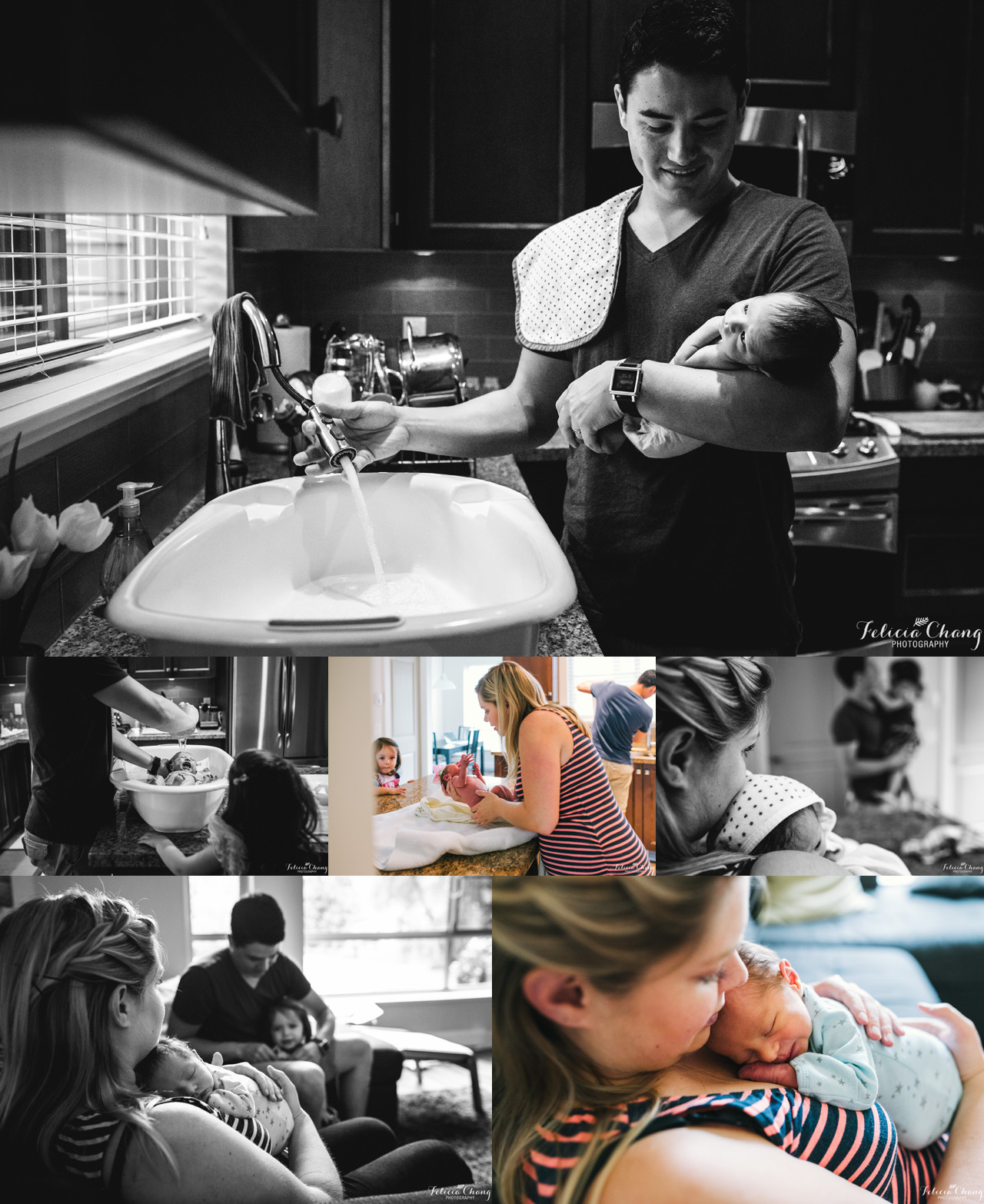 bath time with baby boy, North Vancouver newborn photographer, Felicia Chang Photography