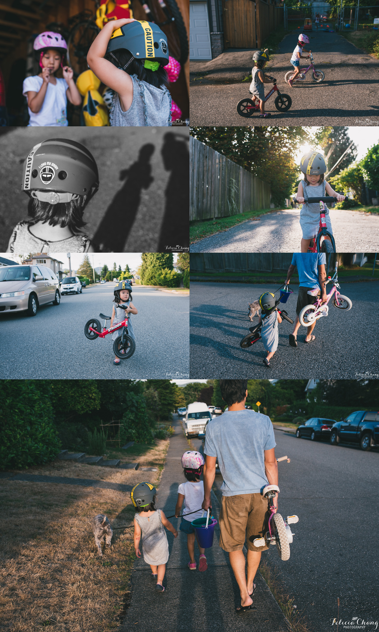 bike riding with daughters, North Vancouver family photographer, Felicia Chang Photography
