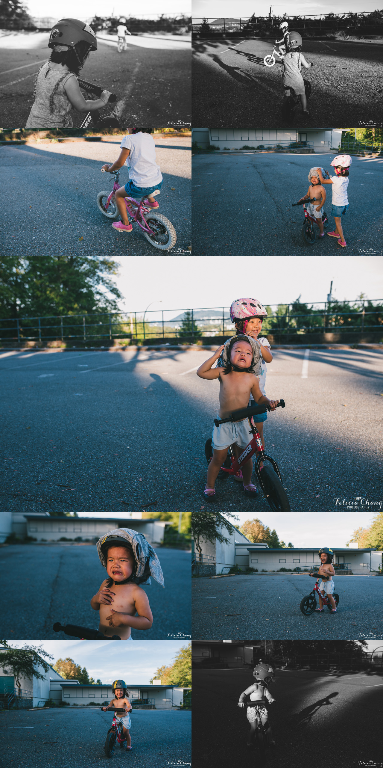 Girls Biking around school, North Vancouver family photographer, Felicia Chang Photography
