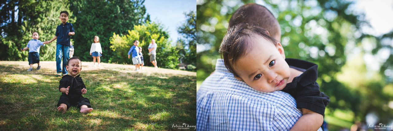 tired crying boy at the park getting hug from dad | Felicia Chang Photography