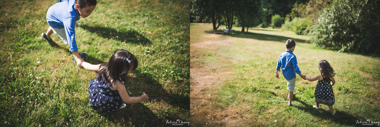 older brother and younger sister sibling together at the park | Felicia Chang Photography