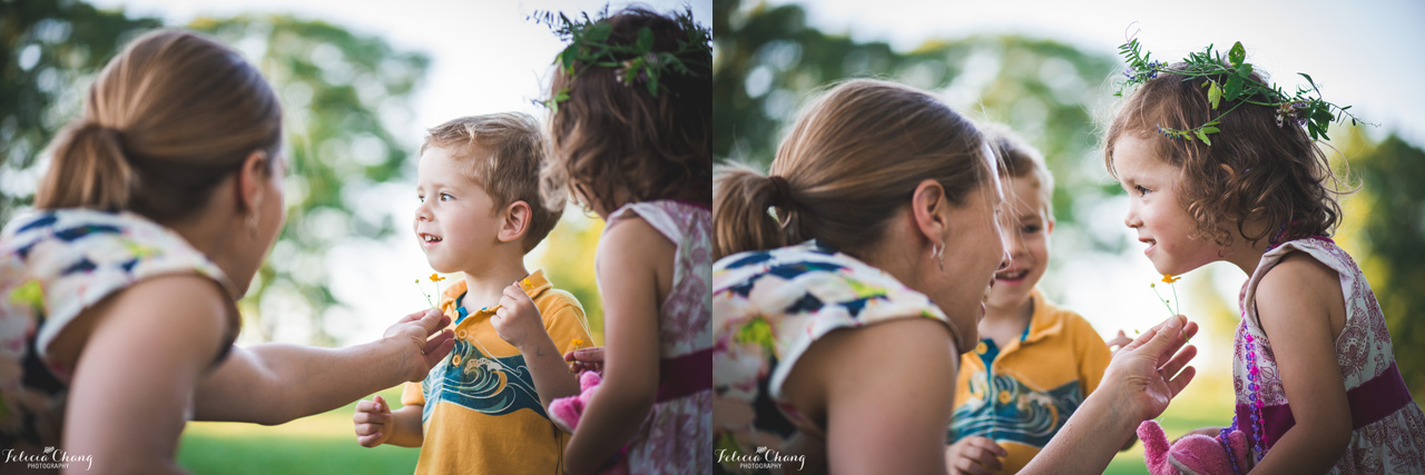 Buttercup on chin with kids, West Vancouver Family Photographer, Felicia Chang Photography