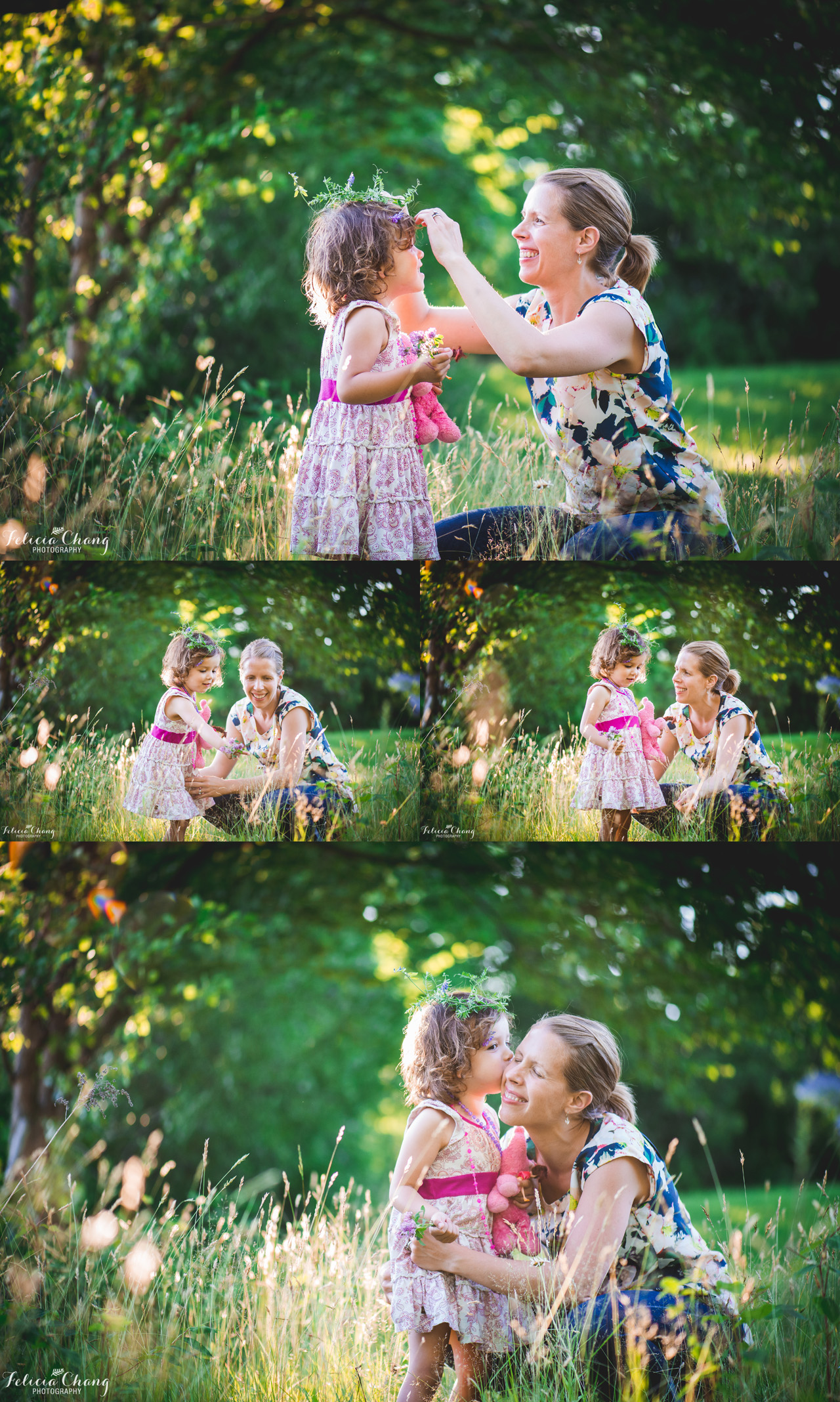 Mom + daughter with flower crown, West Vancouver Family Photographer, Felicia Chang Photography