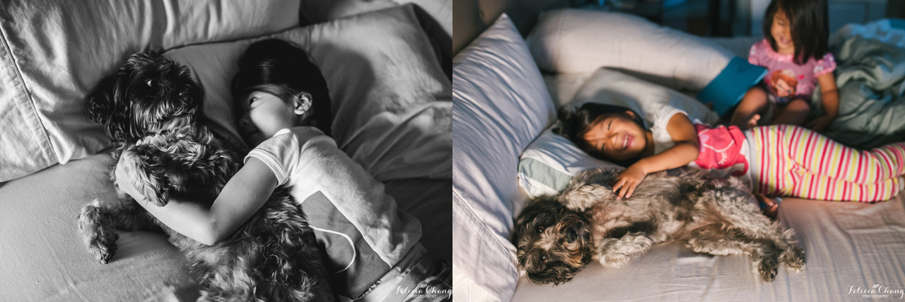 morning cuddle with puppy and kids |  Felicia Chang Photography
