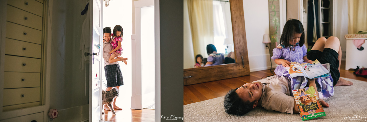 Dad getting home from work | Felicia Chang Photography