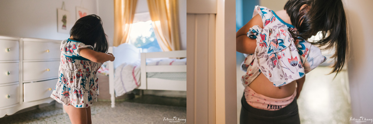 preschooler getting dressed |  Felicia Chang Photography