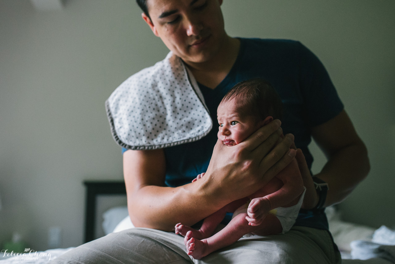 Dad burping newborn | West Vancouver Newborn Photographer, Felicia Chang Photography