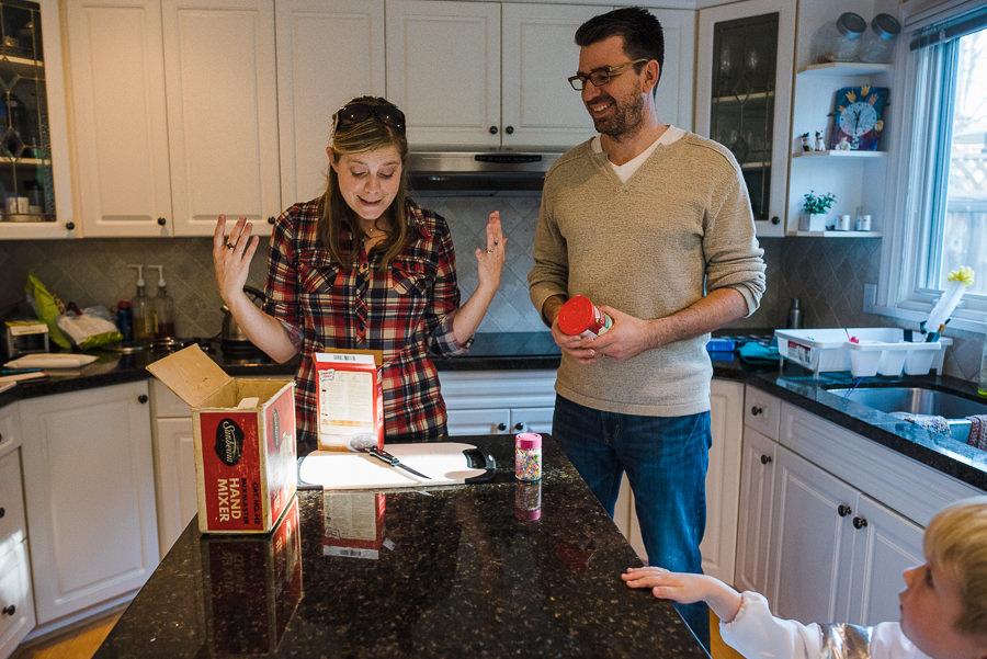 mom and dad preparing for cupcake baking