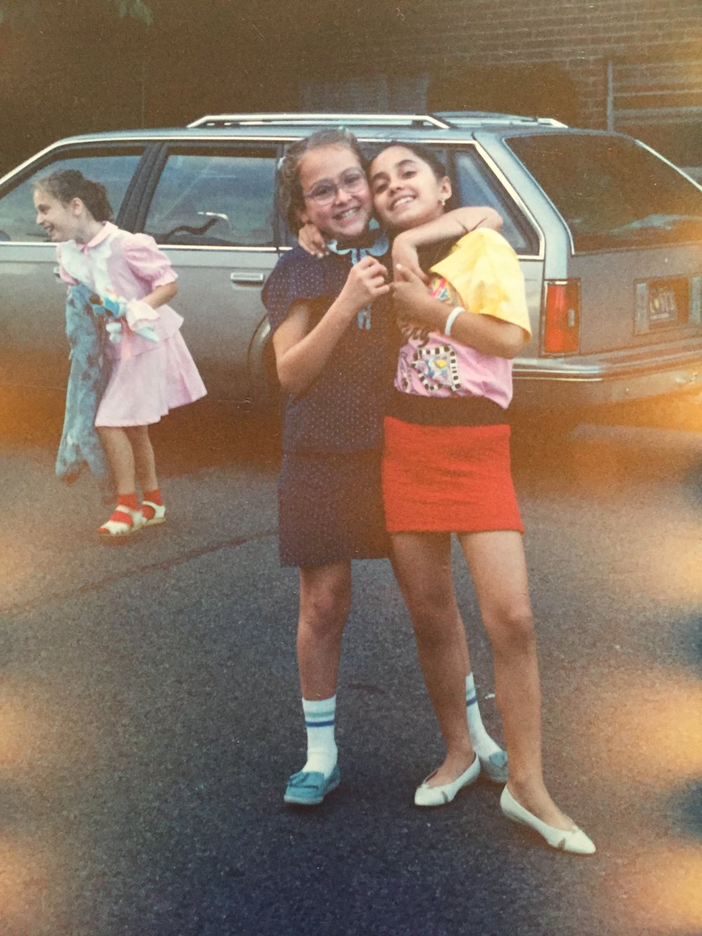 First year in America, new friend; a parking lot full of Russian immigrant kids - 1991