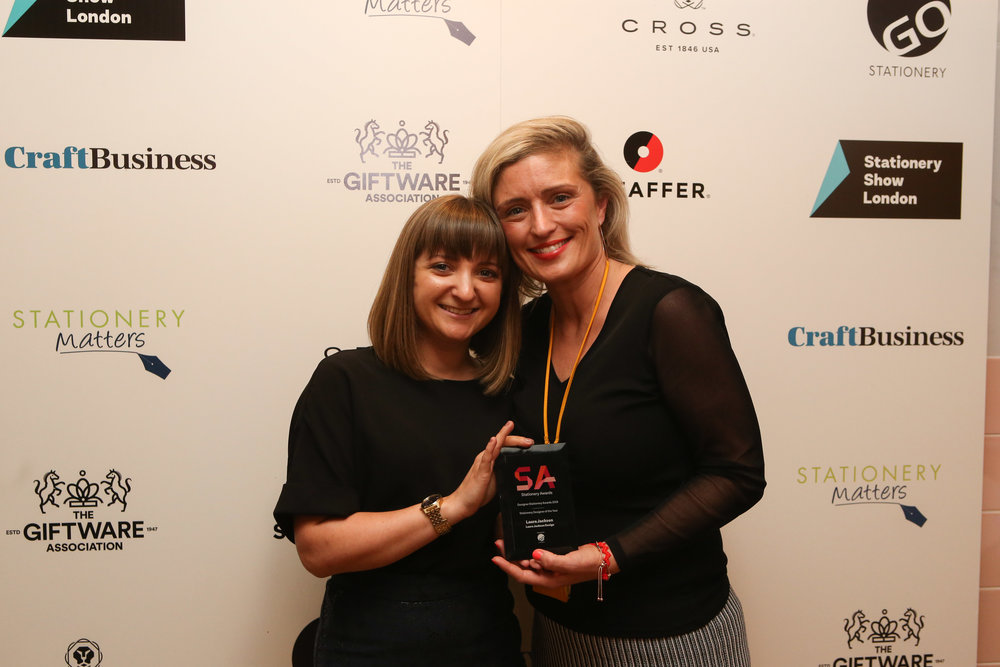 Laura Jackson, of Laura Jackson Design, and Joanna Partlett, head of sourcing & production planning at GO Stationery.