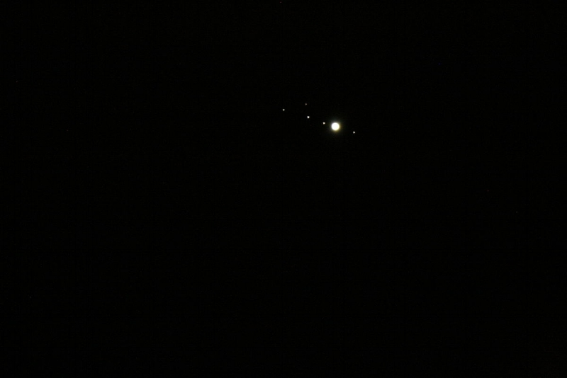Jupiter and its moons, captured with a 700mm focal length telescope with a DSLR. Credit: Dr. Baris Kececi