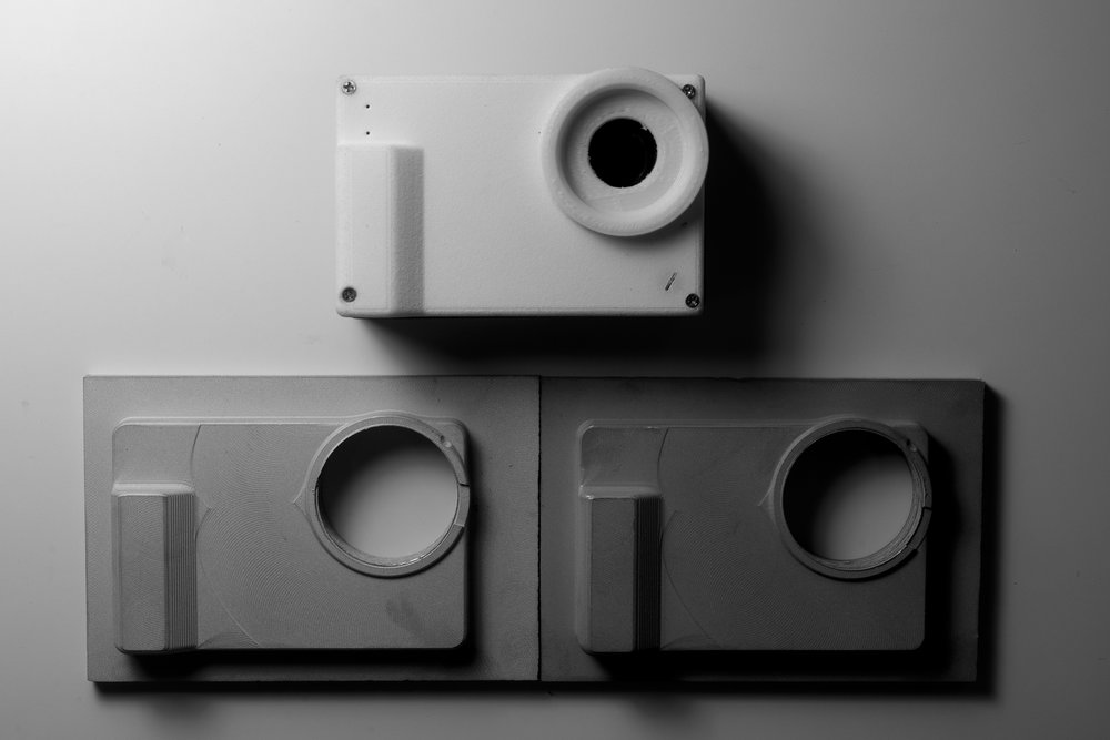 3D printed prototype above. 2 aluminium prototype face-plate below for surface finish testing.