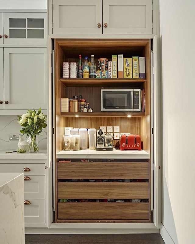 Pantry goals. When thinking about your new kitchen carefully considered storage and organisation can and will make a world of difference in how you function within the space. 📸 via Pinterest . . . . #bespokekitchen #pantrygoals #kitchendesign #kitchendesignideas #bespokekitchens #pantryorganization