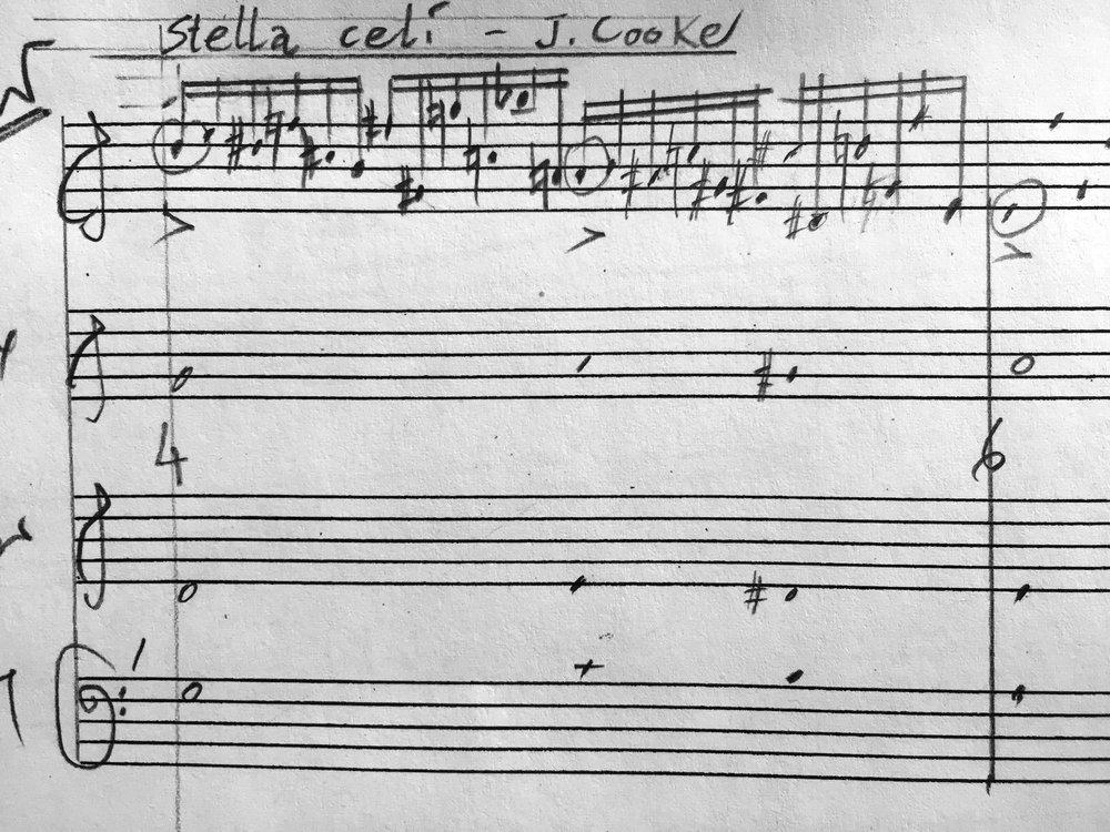 Ed Hughes - sketch for Stella celi - in Sinfonia (2018) (c) UYMP, 2018