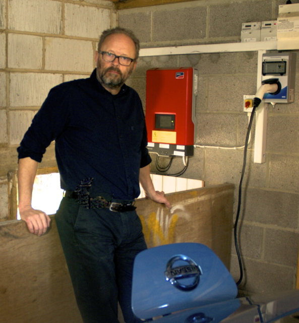 Robert Llewellyn - This is a picture of Mr Un-EV-erse Robert Llewellyn (also of Red Dwarf & Scrapheap Challenge fame) using a Zero Carbon World Charging Station. Robert wanted his existing 16A designated wall mounted unit upgrading and we were more than happy to help him. Robert assures us he is happier with the Charging Station than his expression would suggest!