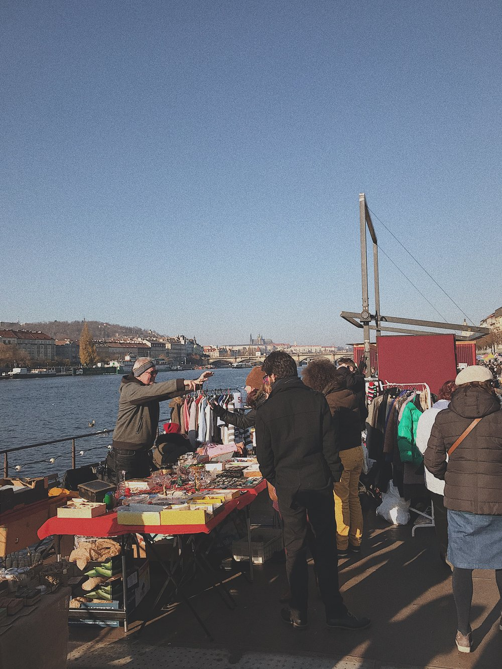 A flea market located on a boat at the Farmer's Market