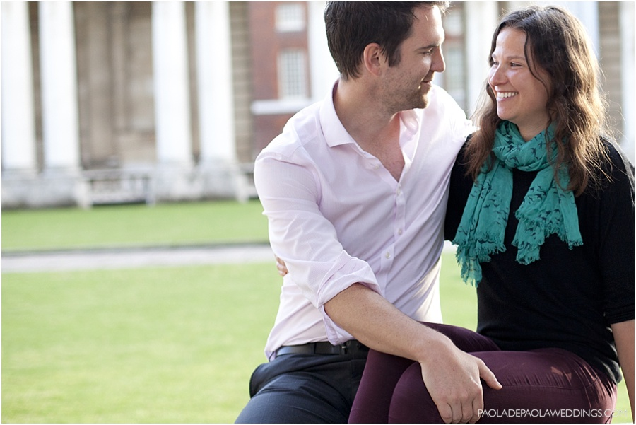 Greenwich engagement shoot of Emma and Steve